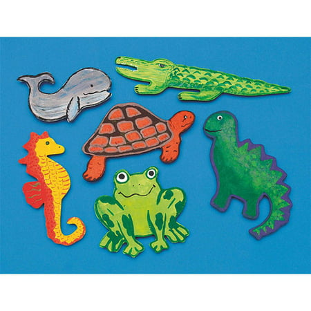 Unfinished Wooden Cutouts Animals, Pack of 36](Wooden Animal Cutouts)