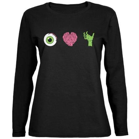 Eye Heart Sf Halloween (Halloween Eye Heart Zombies Ladies' Relaxed Jersey Long-Sleeve Tee Black)