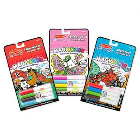 Melissa & Doug On the Go Magicolor Coloring Books Set - Farm Animals, Friends and Fun, Adventure - Melissa And Doug Coloring Book