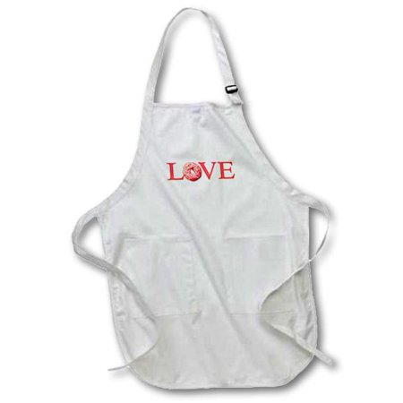 3dRose Love Donuts - text with pink sprinkle doughnut for O - red snack food, Medium Length Apron, 22 by 24-inch, With Pouch Pockets