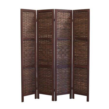 FS16688 Saigon Folding Screen, wood frame w/bamboo inserts