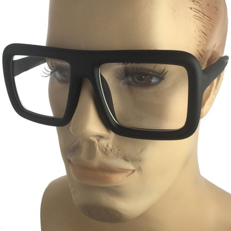 Mens Bold Frame Large Thick Retro Nerd Bold Big Oversized Square Clear Lens Glasses, Matte Black - Oversized Glasses