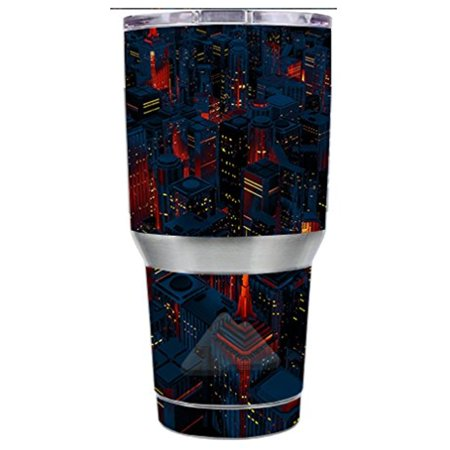 Skin Decal Vinyl Wrap for Ozark Trail 30 oz Tumbler Cup Stickers Skins Cover (6-piece kit) / City Glow at Night Skyline view