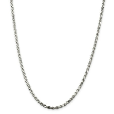 """Sterling Silver 3mm Diamond-Cut Rope Chain Necklace 18"""" - with Secure Lobster Lock Clasp"""