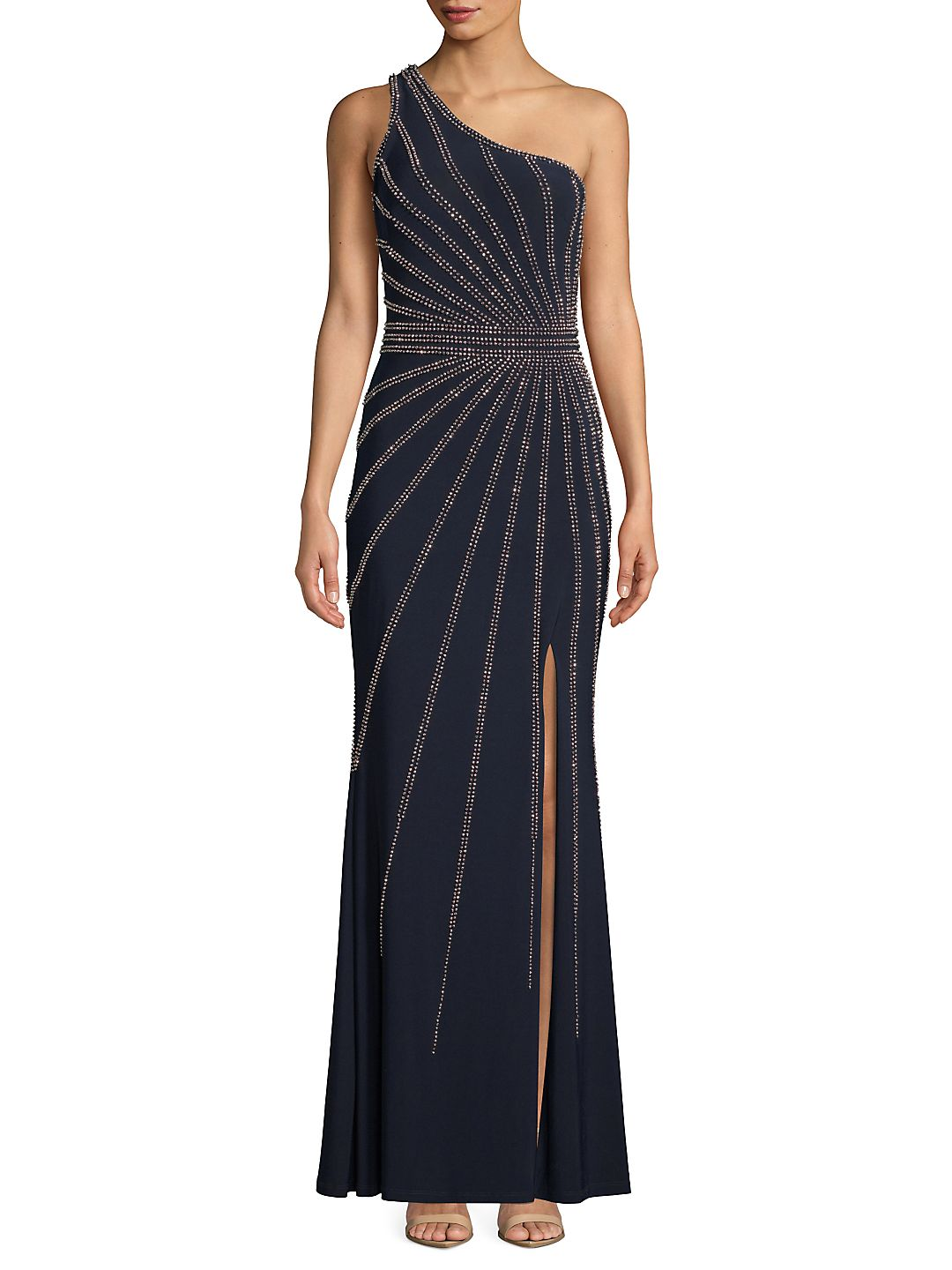 One Shoulder Beaded Evening Gown