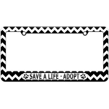 Save A Life Adopt, Pet Cat Dog License Plate Tag Frame, Multiple Colors