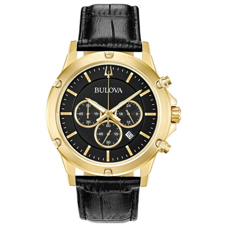 - Bulova Men's Chronograph Watch, Black Leather Strap