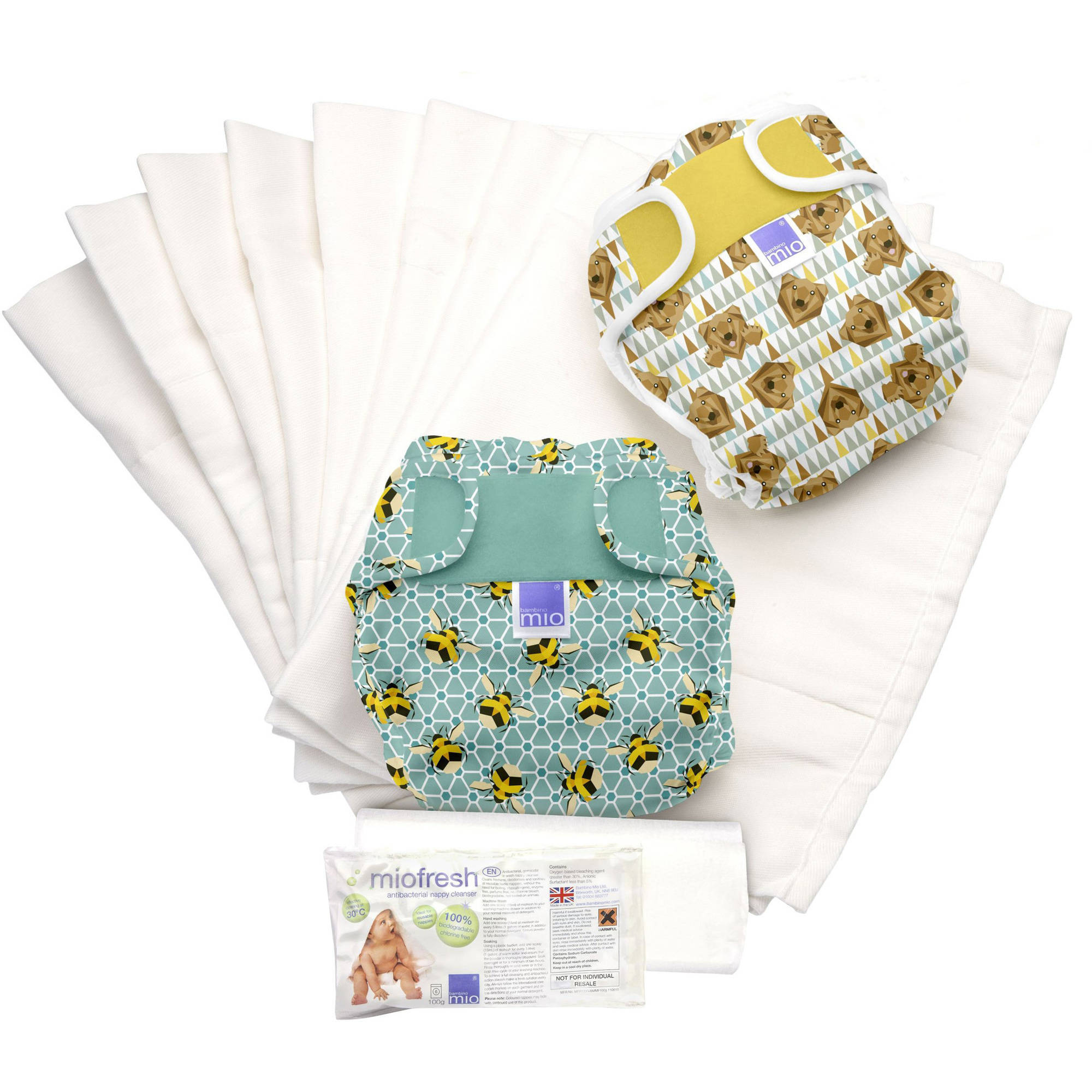 Bambino Mio Miosoft Diaper Set, Geometric A, (Choose Your Pattern)