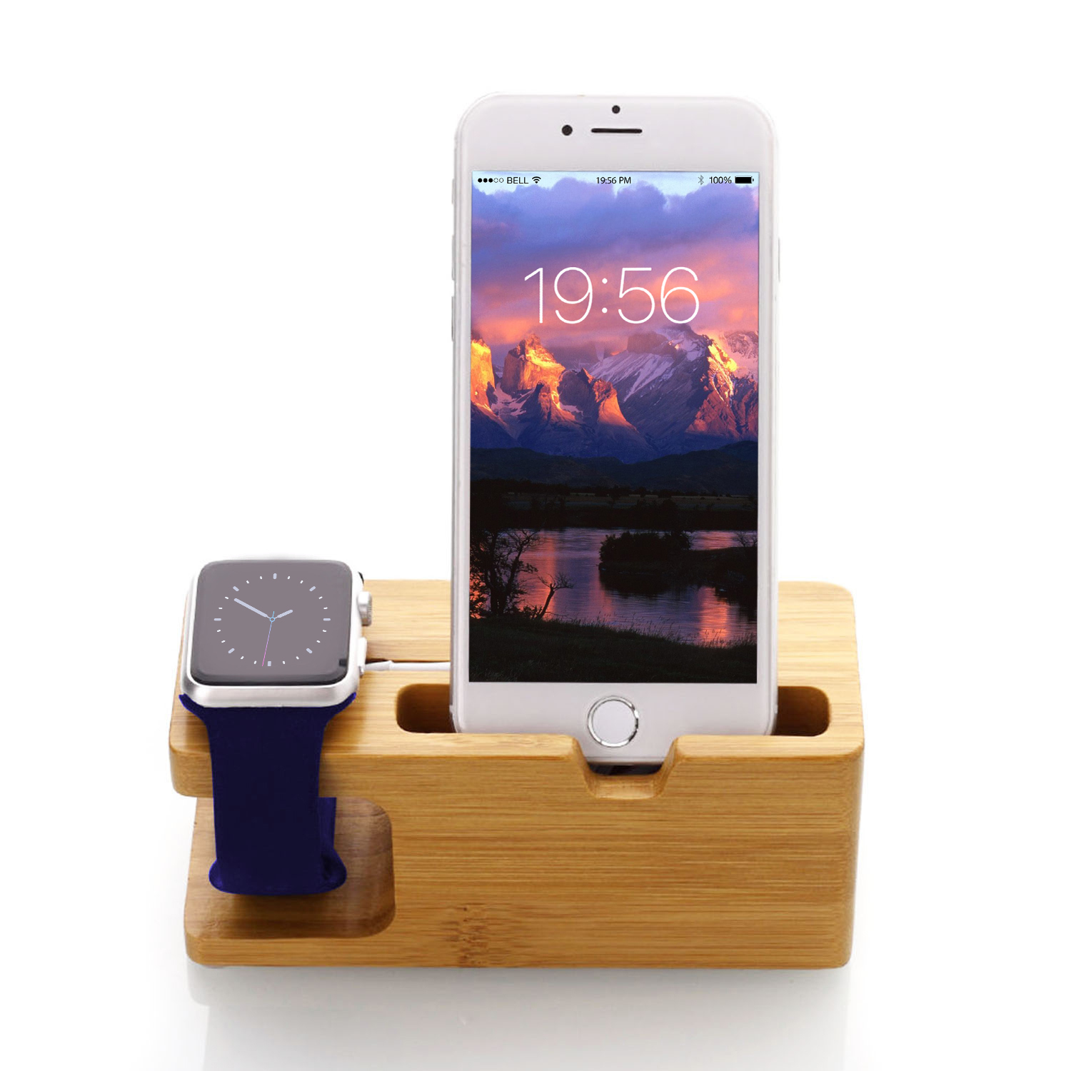 GPCT Bamboo Charging Stand for Apple iPhones and Apple Watches