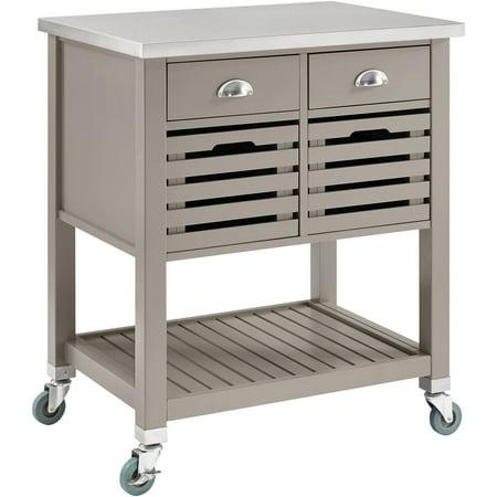Linon Robbin Wood Kitchen Cart Gray 36 Inches Tall
