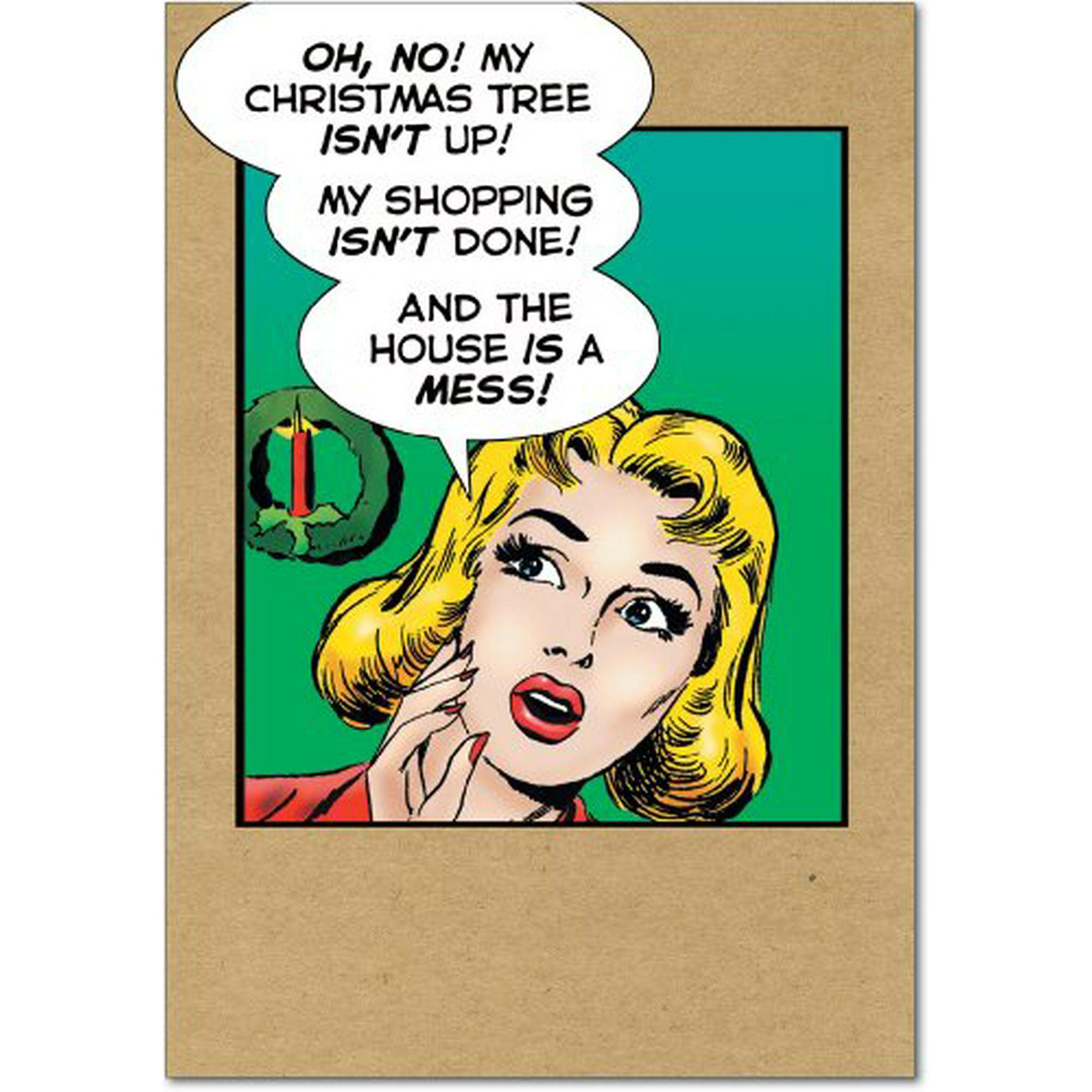 Christmas Notecard.B1964 Box Set Of 12 B1964 Christmas As Usual Last Kiss Humorous Christmas Notecard With Envelopes