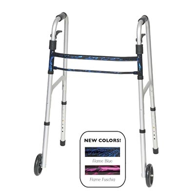 ProBasics Sure Lever Release Folding Walker with Wheels: Flame Blue - Carton of 4