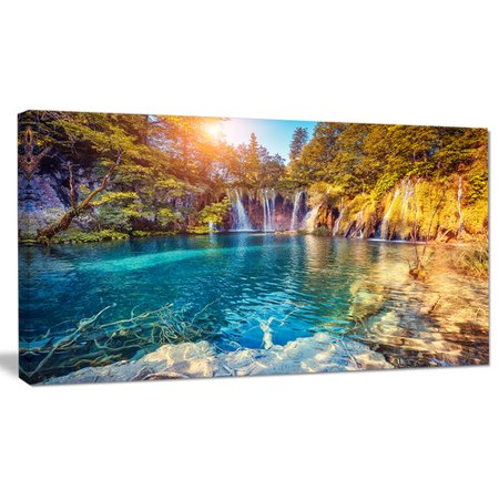 Design Art 'Turquoise Water and Sunny Beams' Photographic Print on Wrapped Canvas