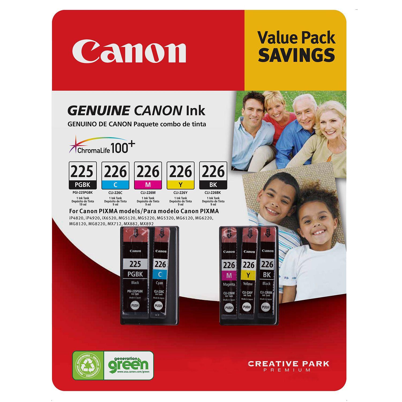 Canon PGI-225/CLI-226 Cartridges, Black/Cyan/Magenta/Yellow/Pigment Black