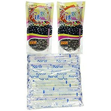 Boba Tapioca Pearls (2Packs of BOBA Black Tapioca Pearl Bubble With 1 Pack of 35 BOBA STRAW)