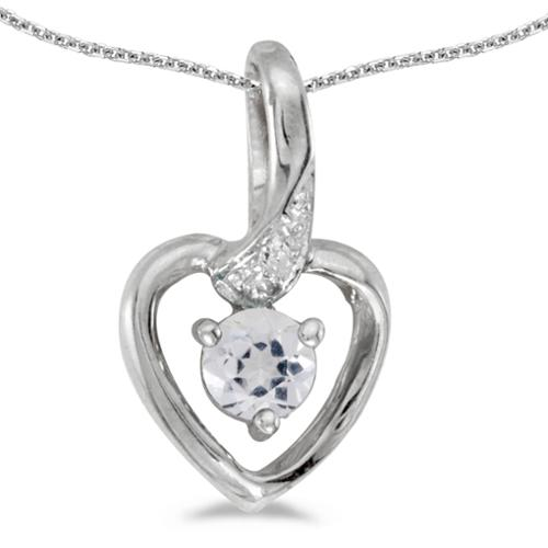 "14k White Gold Round White Topaz And Diamond Heart Pendant with 18"" Chain"