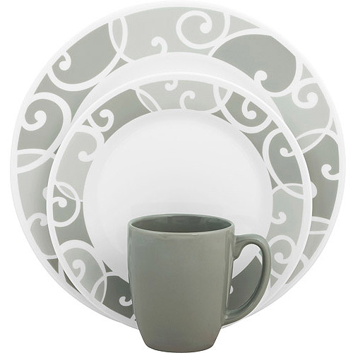 Corelle Vive Glass Ribbons and Swirls 16-Piece Dinnerware Set