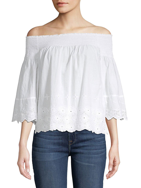 Floral Off-The-Shoulder Cotton Top