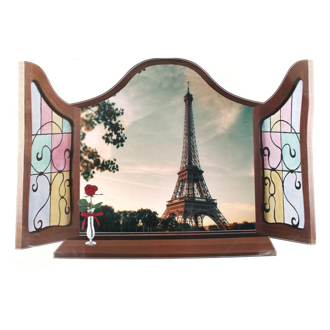Home Art Wall Decor 3D Effect False Window Eiffel Tower Pattern Wall Sticker Decal