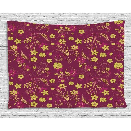 Floral Tapestry, Abstract Ornamental Spring Flowers Pattern Artistic Illustration, Wall Hanging for Bedroom Living Room Dorm Decor, 60W X 40L Inches, Claret Red and Light Green, by (Claret Shades)
