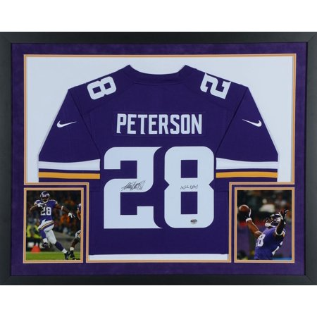 detailed look f2c40 2dd4a Adrian Peterson Minnesota Vikings Autographed SM Deluxe Framed Limited  Purple Jersey with