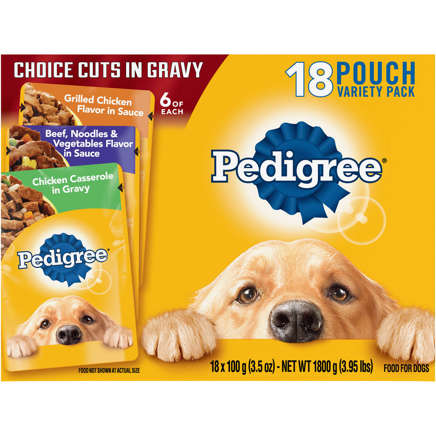 Pedigree Choice Cuts Variety Pack Grilled Chicken, Beef & Chicken Casserole Dog Food, 3.5 oz (18 Count)
