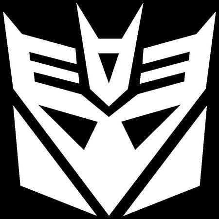 Decepticon Decal (2x WHITE Transformers Decepticon Vinyl Decal Sticker Car Hood Window Laptop ipad )