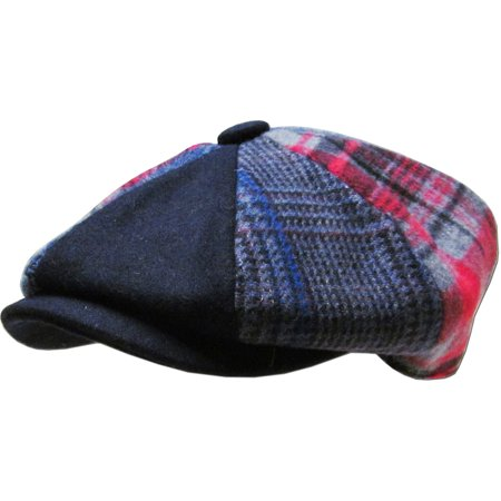 Black Wool Button (Men's Cabbie Newsboy and Ascot Plaid Patch Wool Blend Button Ivy Hat )