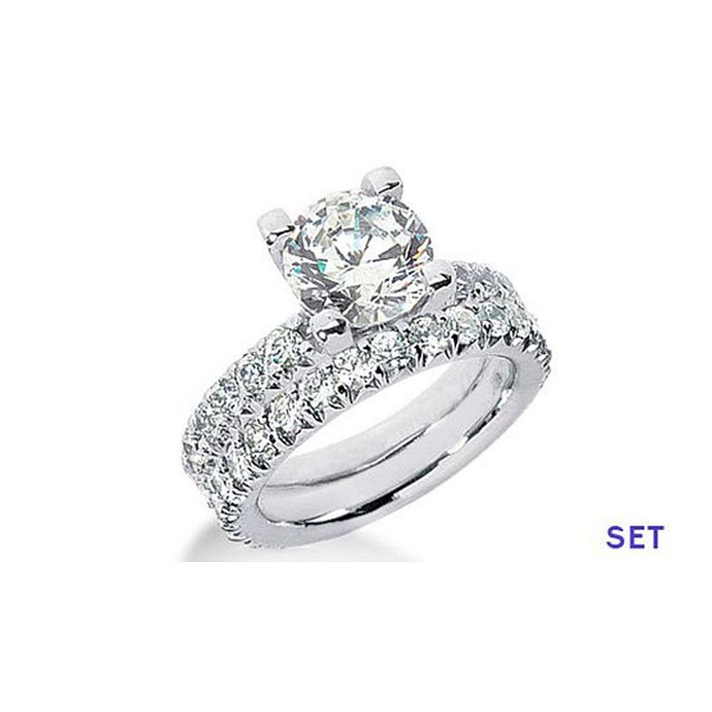 2.65 CT G VS ROUND PLATINUM DIAMOND ENGAGEMENT RING SET by