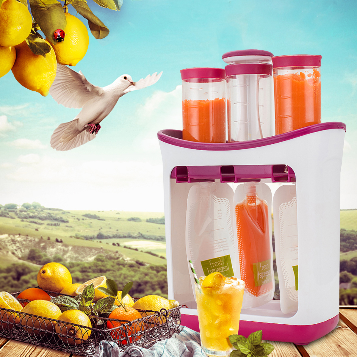 10 Pouch Toddler Fruit Maker Dispenser Infant Baby Feeding Food Squeeze Station