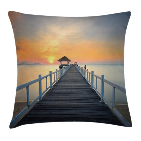 Apartment Decor Throw Pillow Cushion Cover, Long Exposure Deck Path by Sea Shore with Horizon Sunset Landscape, Decorative Square Accent Pillow Case, 24 X 24 Inches, Soft Blue Orange, by