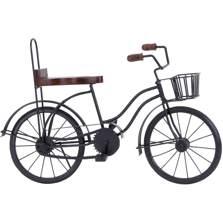 Decmode Metal and Wood Bicycle, Multi Color