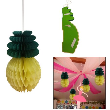 Summer Hawaiin Pineapple Hanging Honeycomb Tissue Paper Party Decorations With Ribbon Set Of 4. Indoor and Outdoor Fun Party Decor Party Favors. for $<!---->