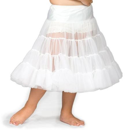 I.C. Collections Girls White Bouffant Half Slip Petticoat Tea Length, 2T - 12 (Nylon Petticoats)