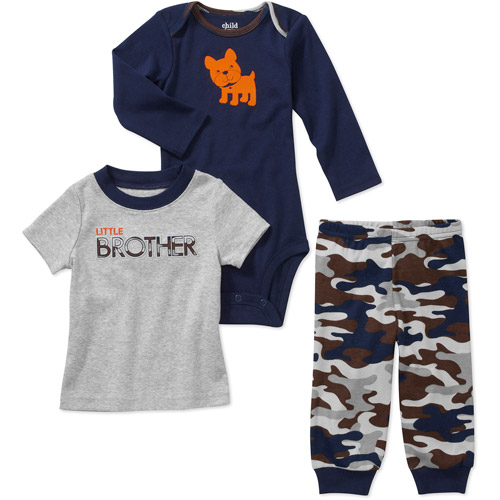 Child of Mine by Carters Newborn Boys' 3 Piece Big Brother Tee's and Pant Set