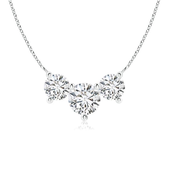 April Birthstone Pendant Necklaces Classic Trio Diamond Necklace in Platinum (6mm Diamond) SP0703D-PT-HSI2-6 by Angara.com