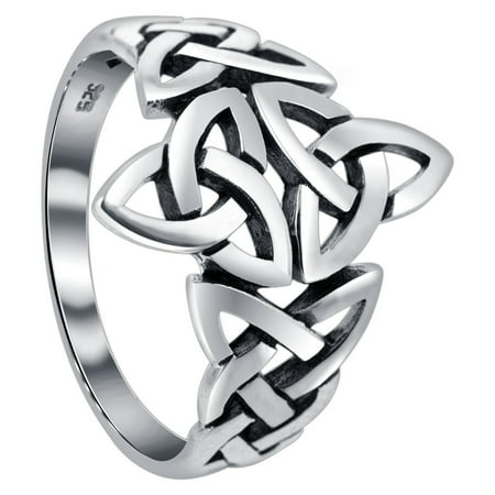 Gem Avenue 925 Sterling Silver Triquetra Celtic Knot Design (Celtic Knot Design Ring)