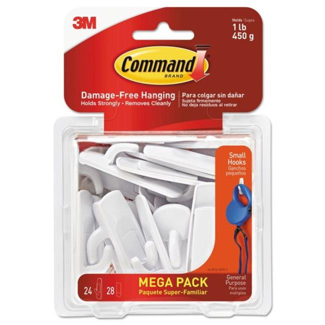 3M 17002MPES 1 lbs General Purpose Hooks Plastic, White 24 Hooks 28 Strips per Pack by 3M