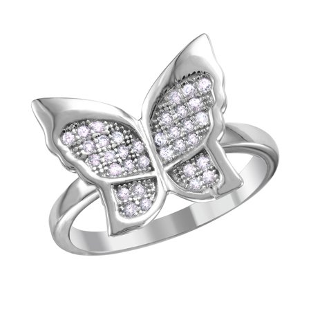 Micro Pave Cubic Zirconia Stones Butterfly Ring Rhodium Plated Sterling Silver Size 9