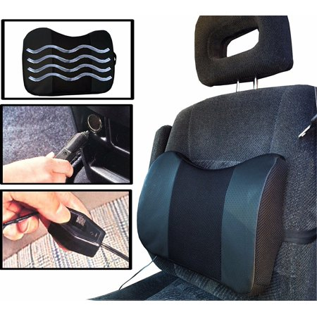 black car cushion vibrating electric massage lumbar support seat relief back pain. Black Bedroom Furniture Sets. Home Design Ideas