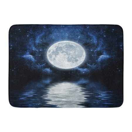 GODPOK Silhouette Black Space Night Sky with Stars Moon and Clouds of This Furnished by NASA Blue Reflection Rug Doormat Bath Mat 23.6x15.7 inch