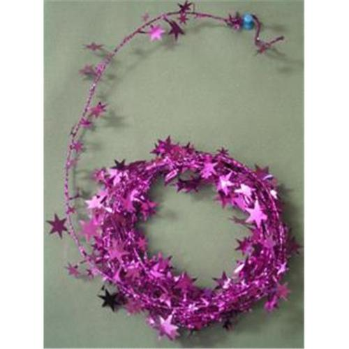Party Deco 04509 18 ft.  Fuchsia Star Wire Garland - Pack of 12