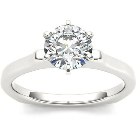 1 Carat T.W. Diamond Euro Style Solitaire 14kt White Gold Engagement Ring