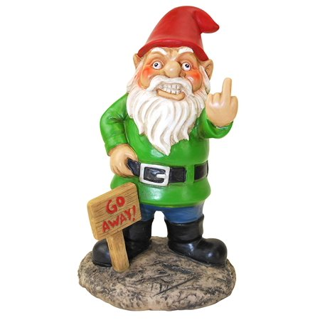 MDParty BigMouth Inc Go Away Garden Gnome, Funny Lawn Gnome Statue, Naughty...