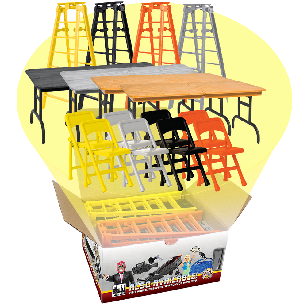 Complete Set of all 4 ULTIMATE Ladder, Table & Chairs Playsets for WWE Wrestling Action Figures