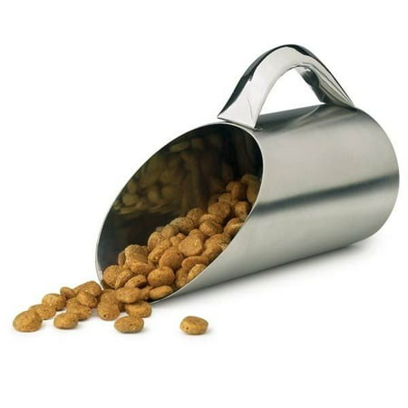 Pet Food Scoop 12 Oz Stainless Steel Matte Finish 1.5 Cup Dry Dog Kibble Scooper ()