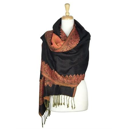 - Paskmlna® Border Pattern Double Layered Reversible Woven Pashmina Shawl Scarf Wrap Stole #01