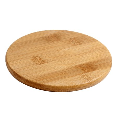 Unique Bargains Household Kitchen Bamboo Round Shaped Serving Tray Food Plate