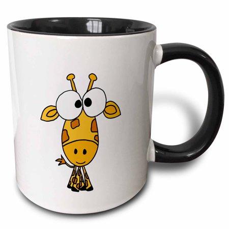 3dRose Funky Giraffe, Two Tone Black Mug, 11oz ()
