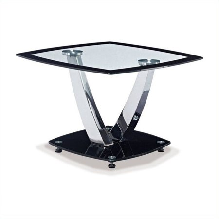 Modern Glass End Table with Black Border and Glass Black Base ()